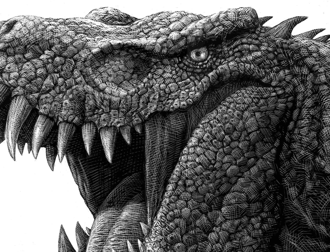 06-T-Rex-Detail-Ricardo-Martinez-Wild-Animals-inside-Scratchboard-Drawings-www-designstack-co