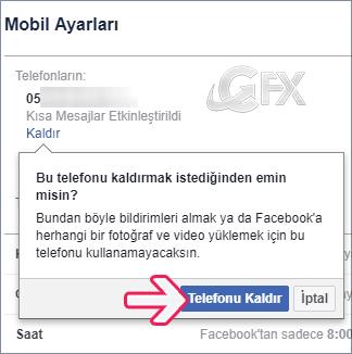 Facebook'tan telefon numarasını kaldırma