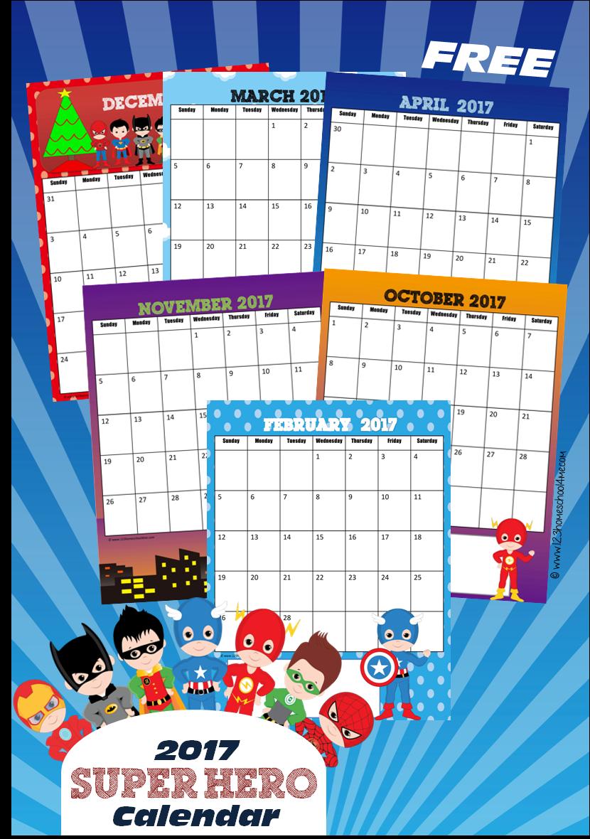 2017 super hero calendar