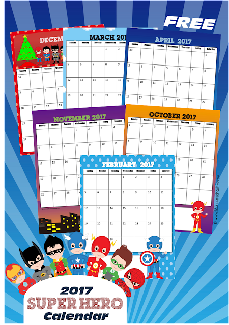 FREE 2017 Super Hero Calendar - such a cute, free printable calendar for kids, homeschool, preschool, kindergarten with Batman & Robin, Superman, Flash, Captain America, Spiderman and other super heroes theme