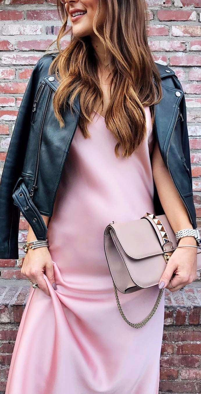pink blush slip dress mixing with a motojacket | street girl