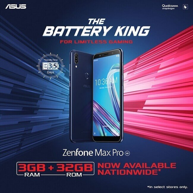 ASUS ZenFone Max Pro 3GB Now Available in Select Stores and Kiosks