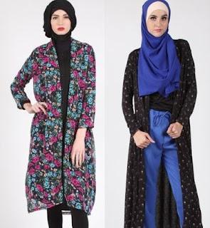 Cardigan batik model panjang wanita muslimah berhijab