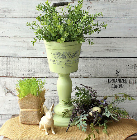 Fun Pedestal Planter From Thrift Shop Parts