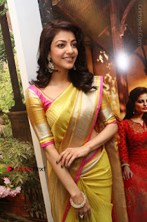 Actress Kajal Agarwal Stills in Golden Silk Saree at Trisha Sesigner Store Launch  0042.jpg