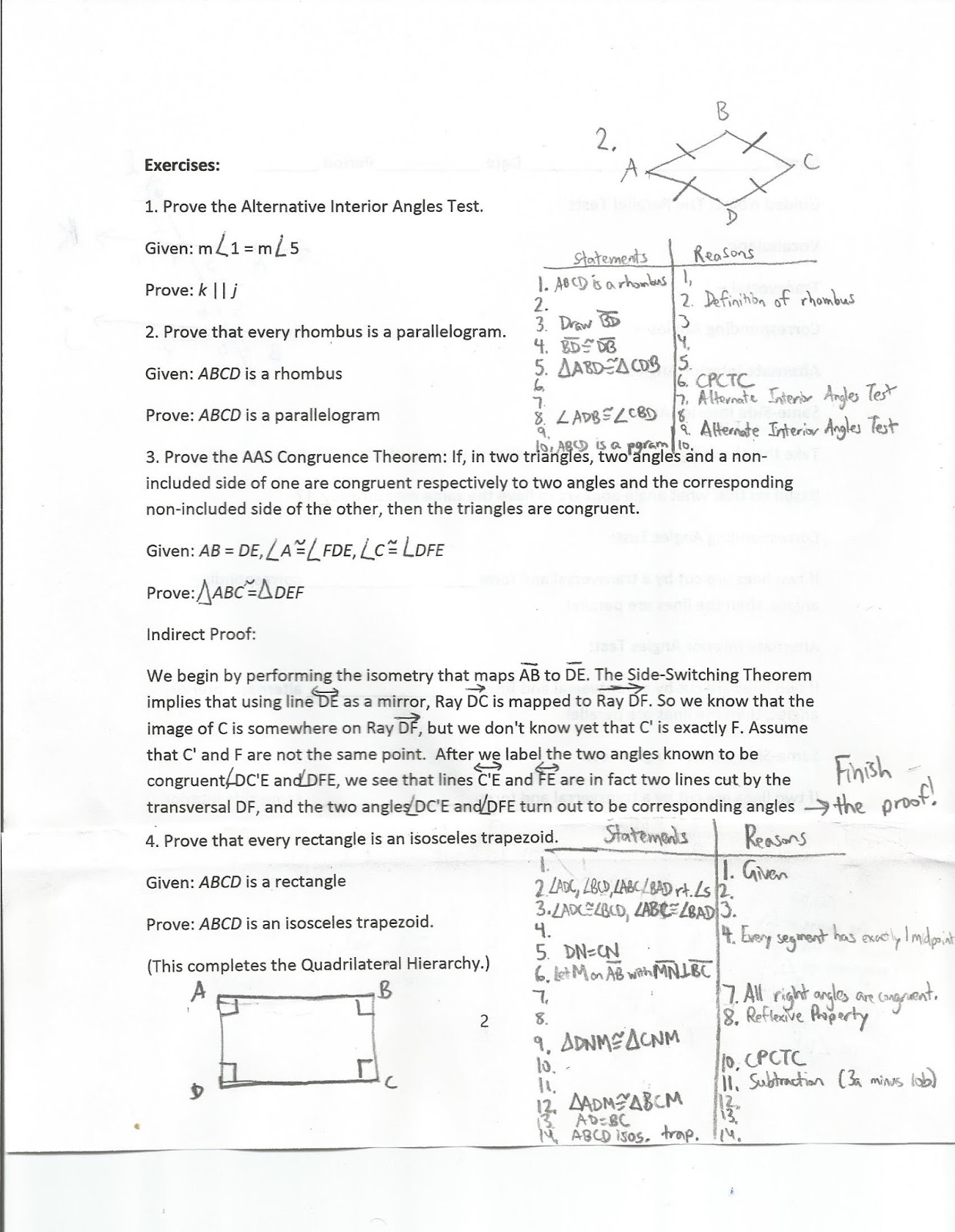 Geometry Common Core Style The Parallel Tests Lessons 3