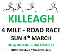 4 mile race in East Cork...Sun 4th March 2018