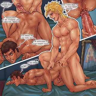 gay porn mini comic commission fan art jjba vento aureo stardust crusaders vampire dio sweaty mista anal fingering