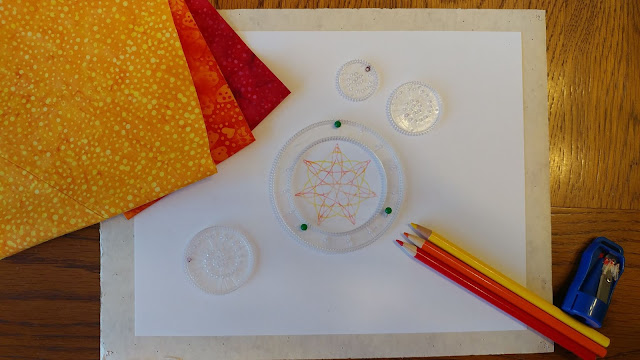 Spirograph quilt using Island Batik fabrics and Aurifil thread