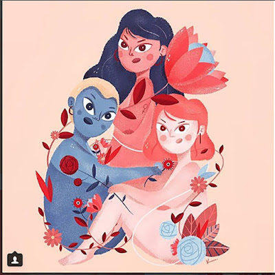 Ilustração com três mulheres unidas e envolvida entre flores