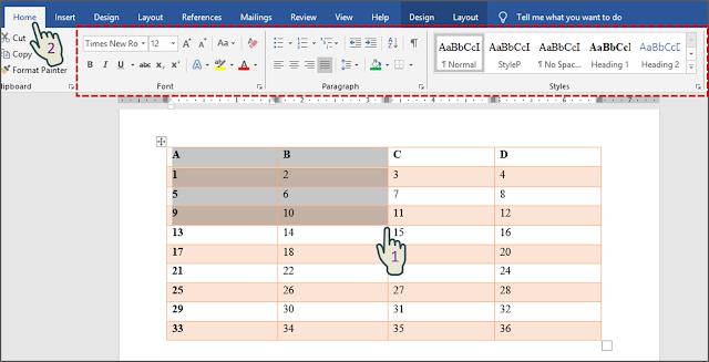 Memformat Teks Dalam Tabel