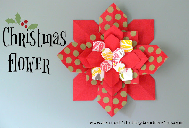 Christmas paper flower tutorial
