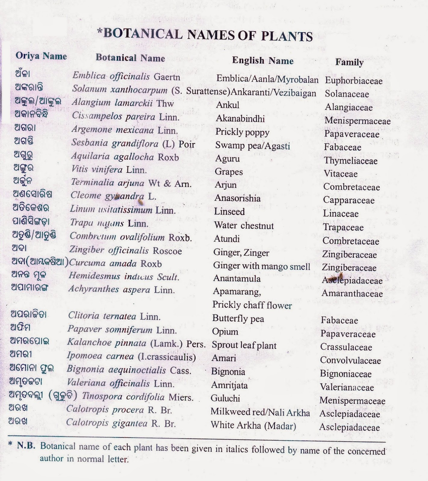 botanical names of common plants of odisha alphabetical list of
