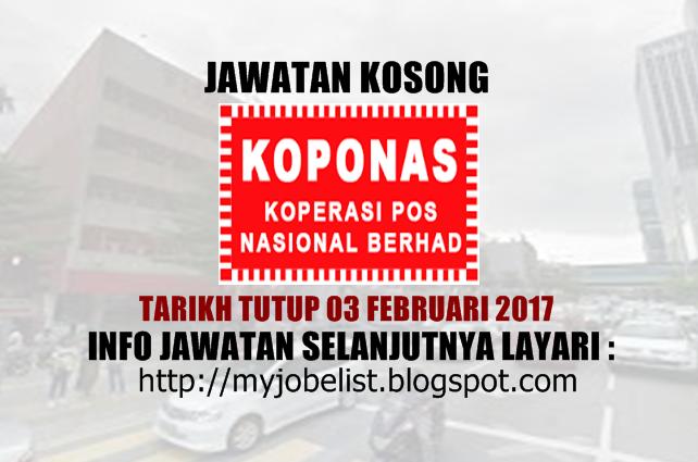 Jawatan Kosong Koperasi Pos Nasional Berhad Februari 2017