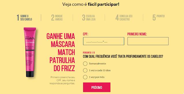 Promoção O boticário - Máscara Match - Para cabelo
