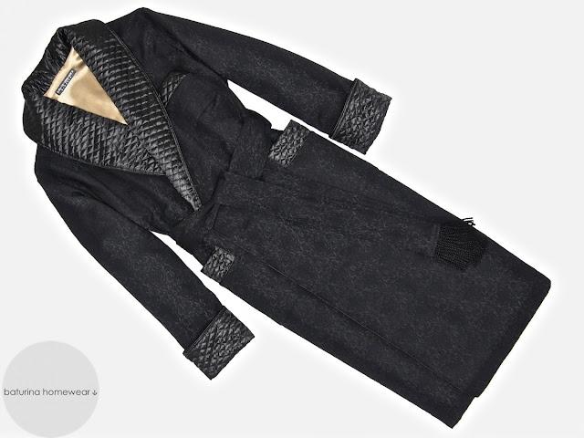 Mens black paisley silk dressing gown robe