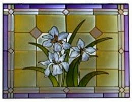 Stained Glass Transom Window in purple and yellow