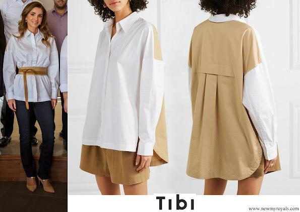 Queen Rania wore  TIBI Two-tone color-block cotton-poplin shirt