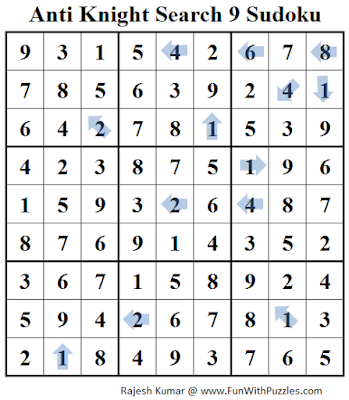 Anti Knight Search 9 Sudoku (Daily Sudoku League #221) Solution
