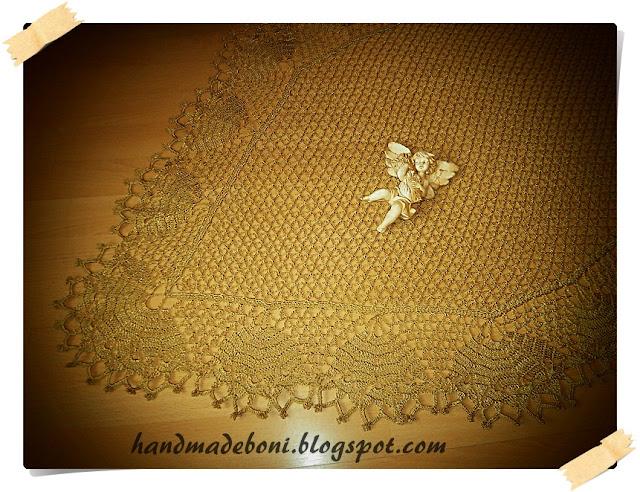 Serweta retro w kolorze starego złota 148/80 cm. Zrób razem ze mną :-)