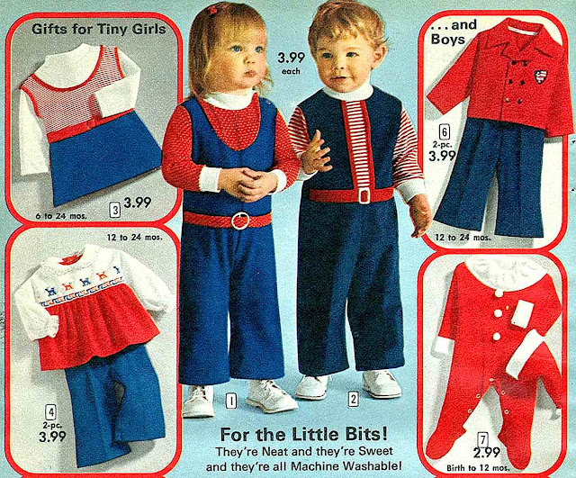 1972 kids fashion, red white blue, catalog photo