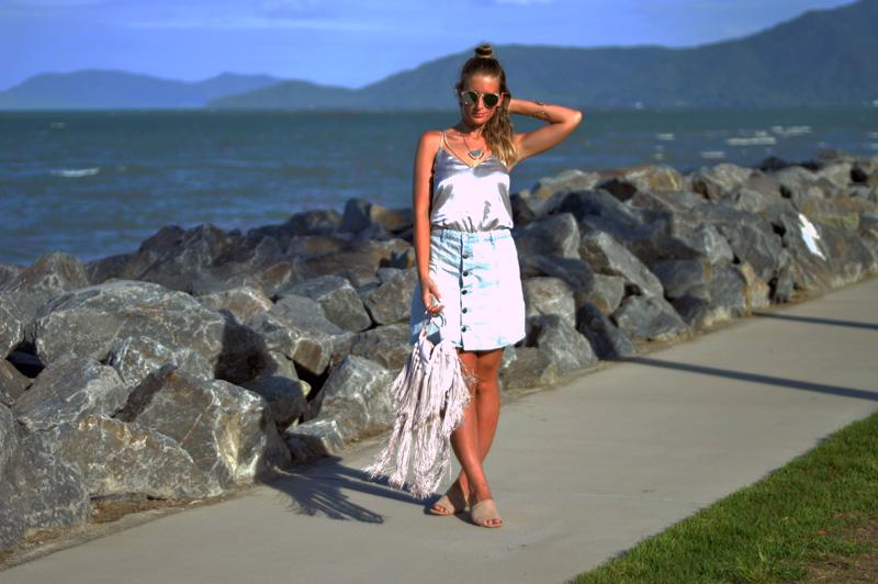 summer outfit idea denim skirt silk cami mules