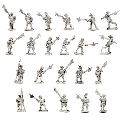 H-1025 WOTR Retinue Billmen - SINGLES - (32 figures + 4 bases)