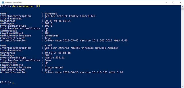PowerShell cmdlet Get-NetAdapter |fl