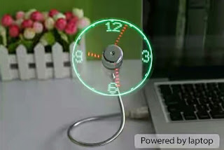 USB Clock Fan connected to laptop