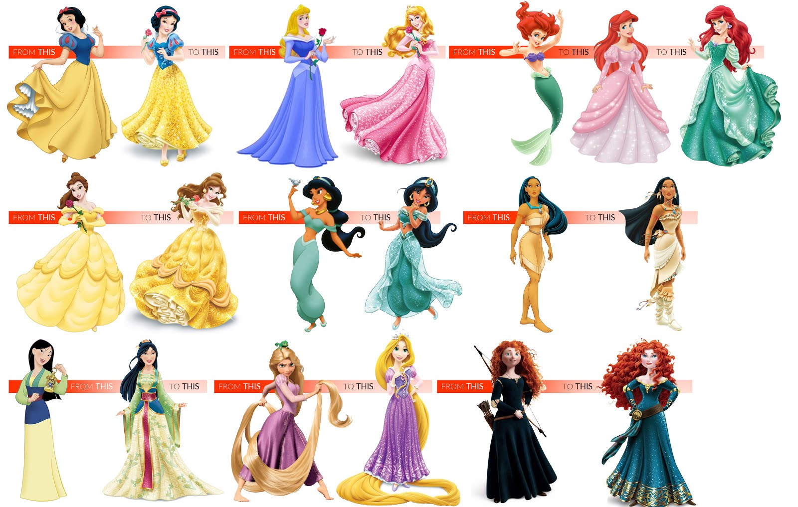 all disney princesses dresses