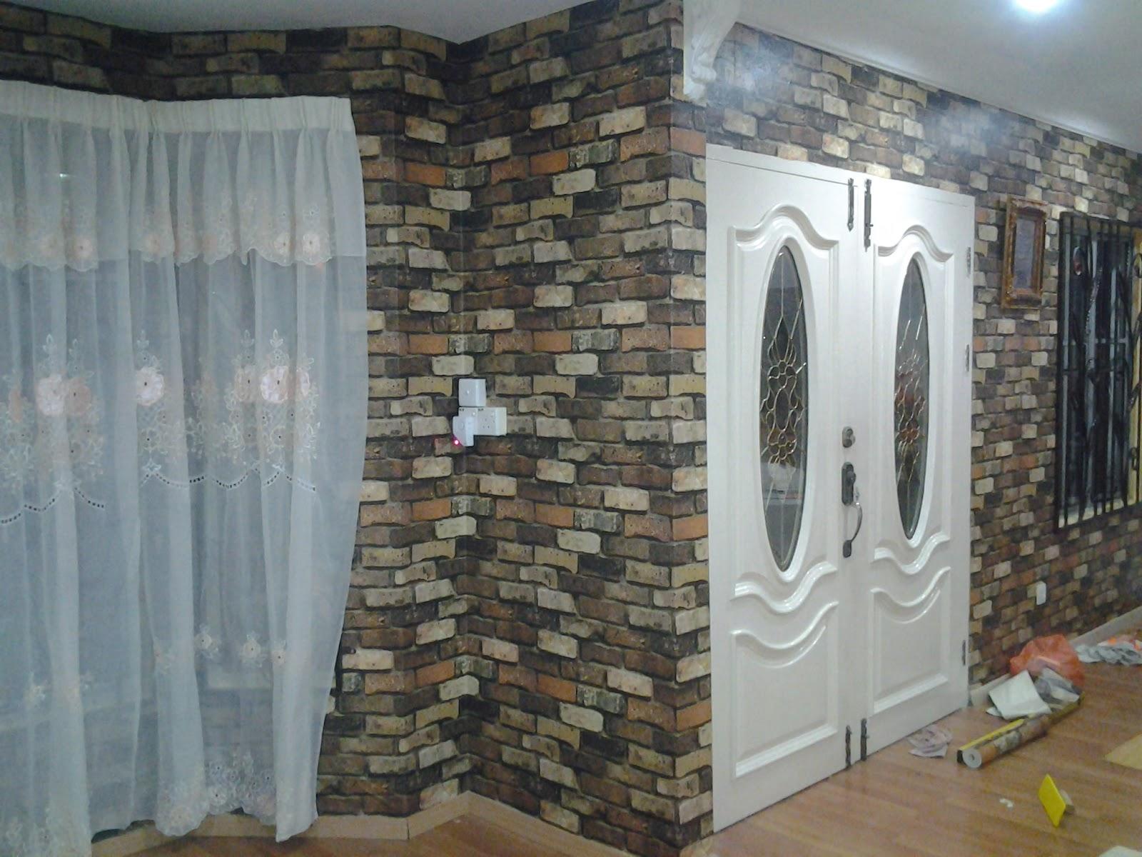 Wallpaper Dinding 3d Ruang Tamu Batu Bata Evergreen Hisai Rumah Di Nilai Impian Baiti