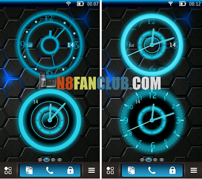Tron Style Live Analog Clock Widgets for Nokia Symbian Belle