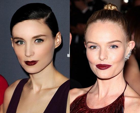 maquillaje labios borgoña