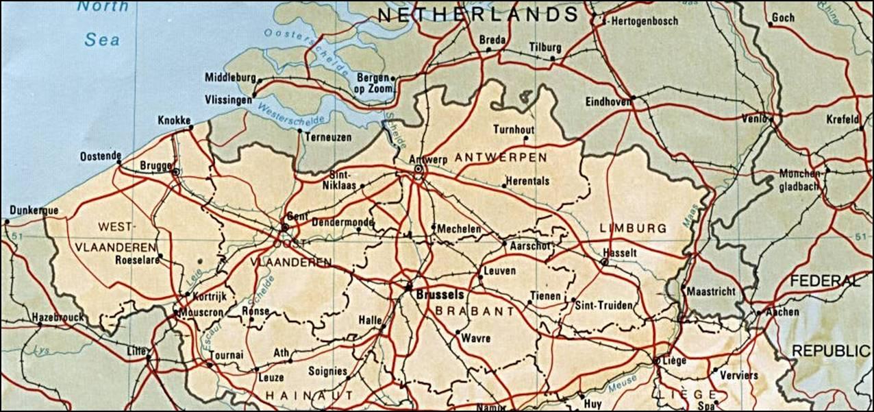 Kaart Belgie Vakantie Kaart Vlaanderen Brussel Vakantie Belgie