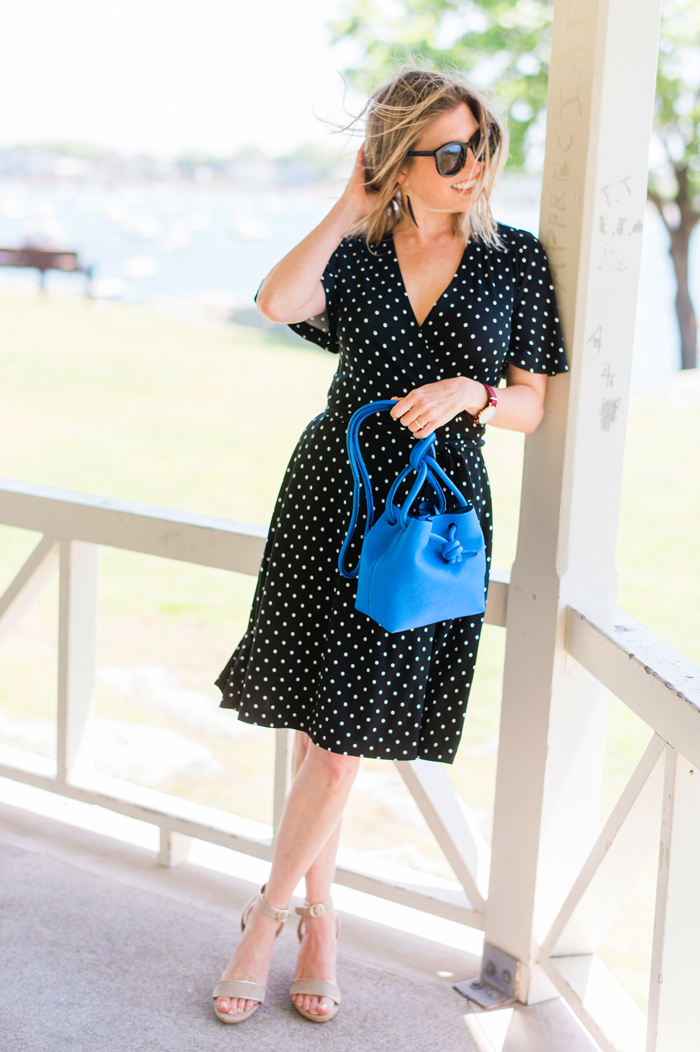 Ann Taylor Polka Dot Flutter Sleeve Wrap Dress