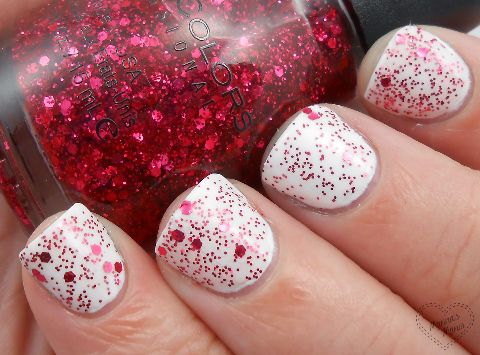 sinful colors decadent, a red glitter nail polish