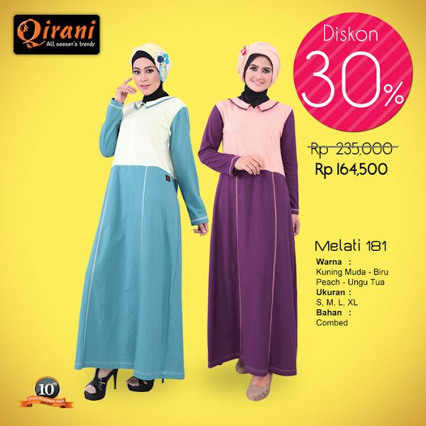 Qirani Baju Gamis Muslimah Trendy Warna Ungu Biru Baju Muslim