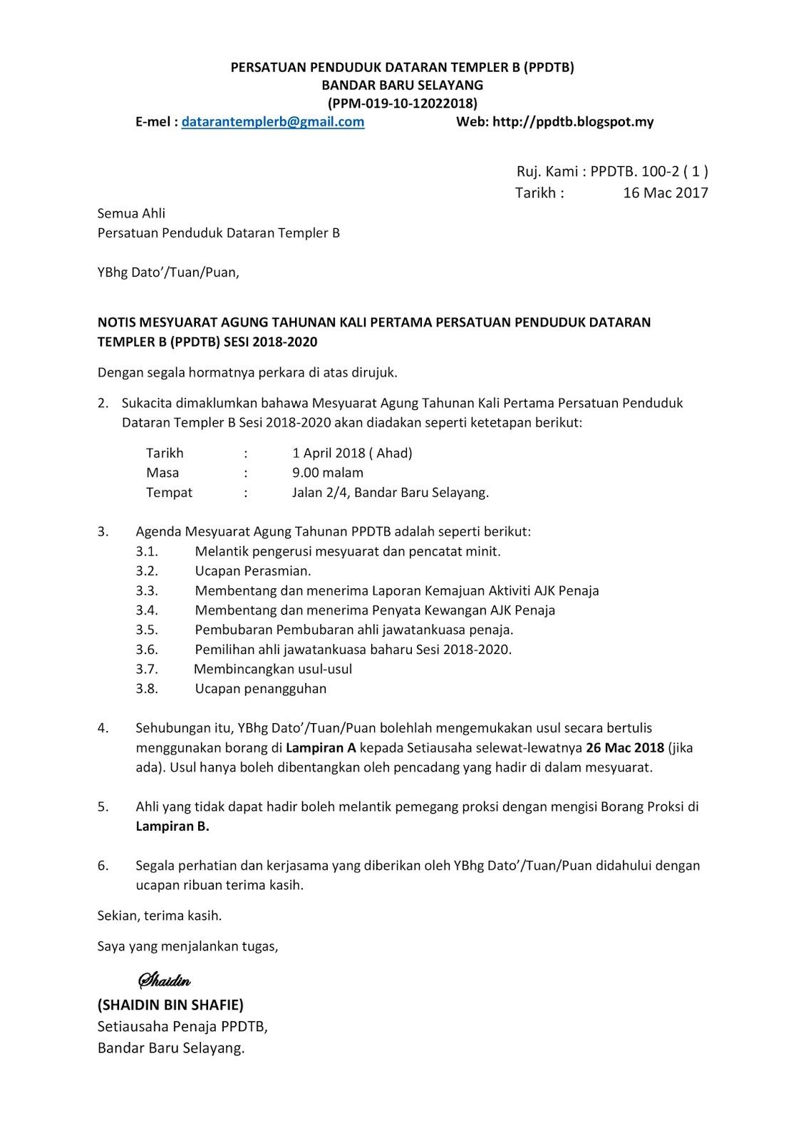 Notis Mesyuarat Agung Tahunan Kali Pertama Persatuan Penduduk Dataran Templer B Ppdtb Sesi 2018 2020