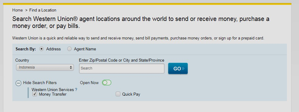 Mencari Lokasi Western Union