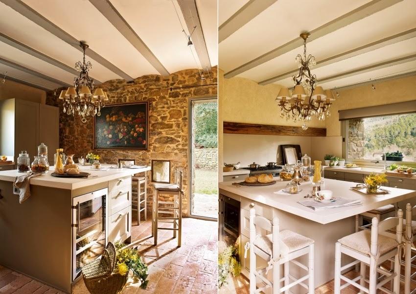 Hiszpański dworek z kamiennymi ścianami, wystrój wnętrz, wnętrza, urządzanie domu, dekoracje wnętrz, aranżacja wnętrz, inspiracje wnętrz,interior design , dom i wnętrze, aranżacja mieszkania, modne wnętrza, styl klasyczny, styl rustykalny, styl francuski, kuchnia, wyspa kuchenna