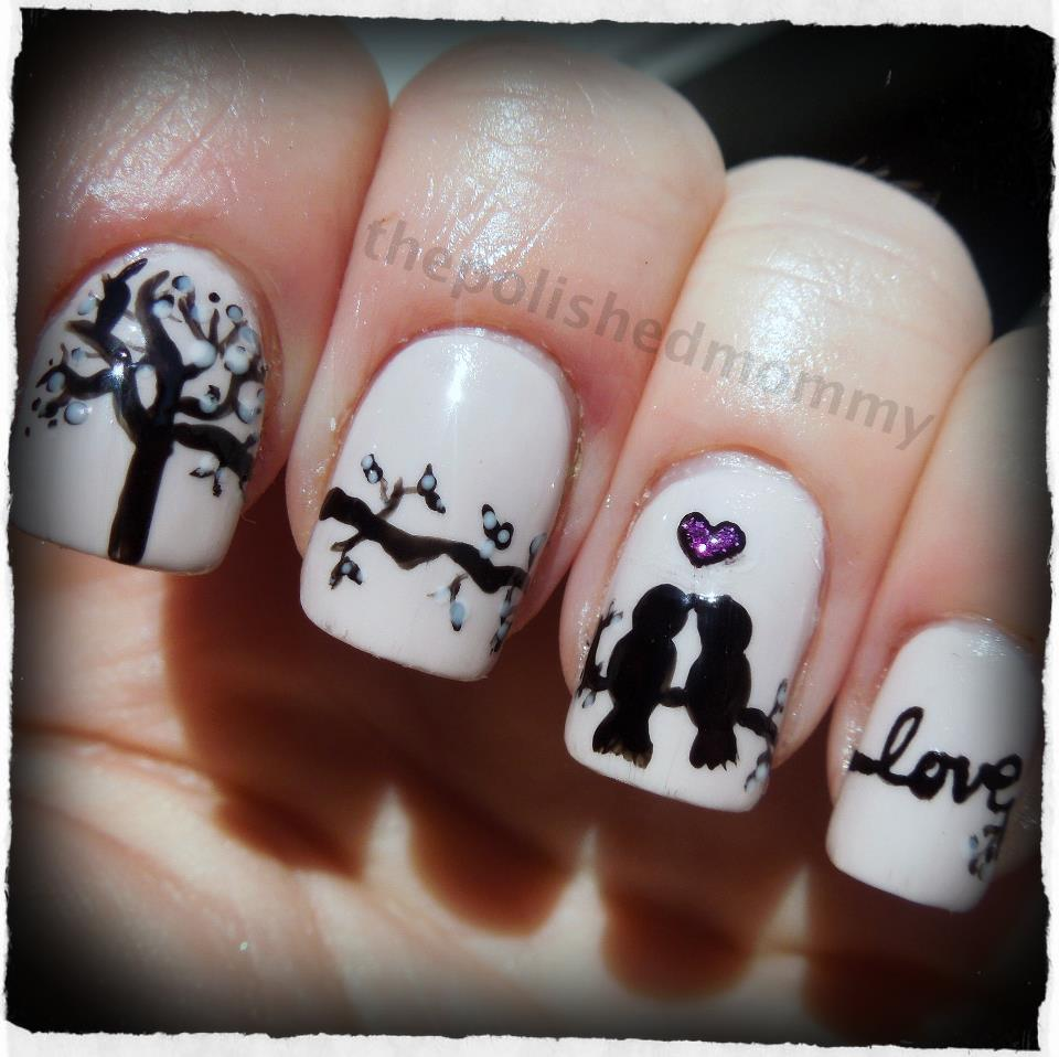 Love Birds Nail Art: Glitter Me This: Winners Of The Valentines/Anti-Valentines