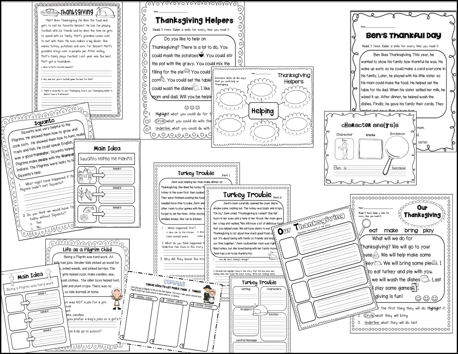 Sarah S First Grade Snippets Thanksgiving Worksheets And