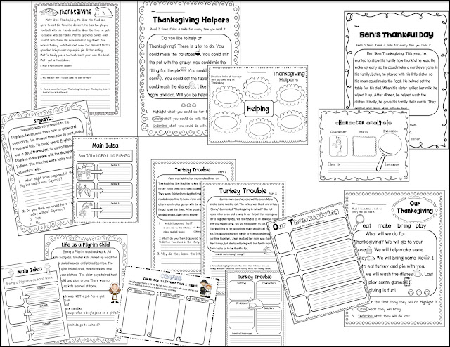 Sarah's First Grade Snippets: Thanksgiving worksheets and