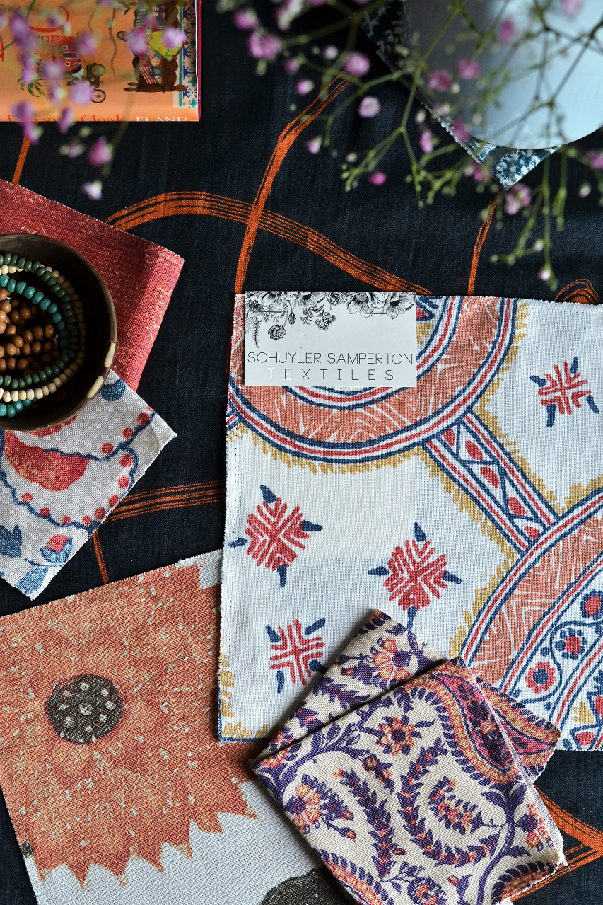 Schuyler Samperton Textiles, hönnun, mynstur, efni: Nellcote, Cordoba, Celandine · Lísa Hjalt