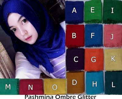 Model Jilbab Terbaru Pashmina Ombre Glitter