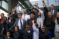 Youth plaintiffs celebrate on the steps of the Wayne Morse federal courthouse in Oregon after a judge allowed their climate lawsuit against the federal government to proceed in March. The Massachusetts ruling is the most significant victory to date in cases filed by young people. (Credit: Our Children's Trust) Click to Enlarge.
