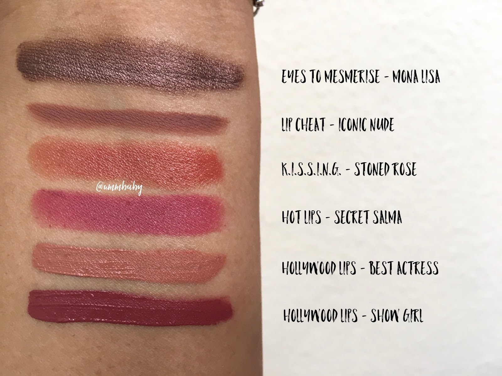 nc40 swatches charlotte tilbury hollywood lips show girl, best actress swatch, nc40 medium skin swatch charlotte tilbury eyes to mesmerise mona lisa