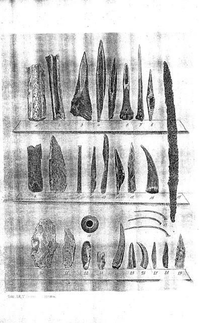 rycina przedstawiająca artefakty wykopane we wsi Pawłowice