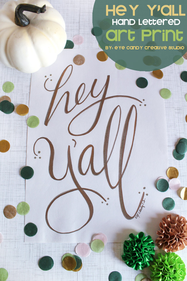 etsy art print, gold lettering, southern saying, hey y'all, white pumpkin, confetti