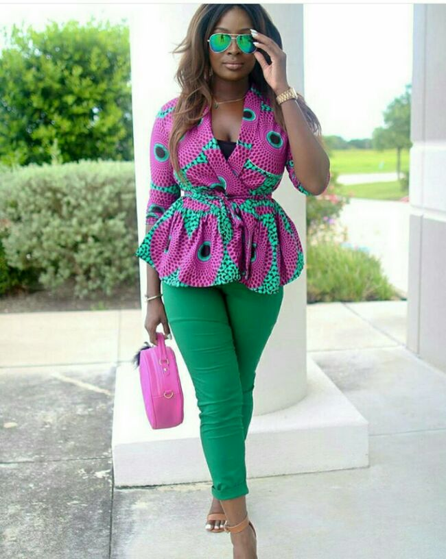 ankara top with green pencil jean